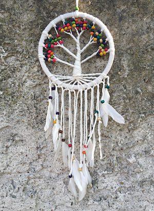 ručně vyrobený lapač snů strom života čakrové korálky 62 cm