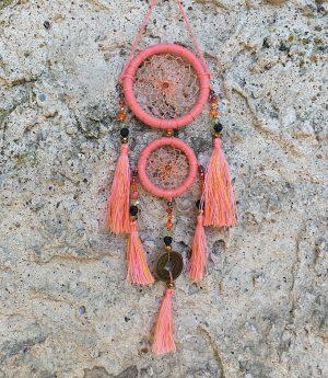 ručně vyrobený lapač snů korálkový růžový 25 cm