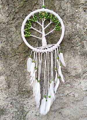 ručně vyrobený lapač snů strom života zelené korálky 70 cm