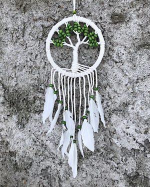 ručně vyrobený lapač snů strom života zelené korálky 50 cm