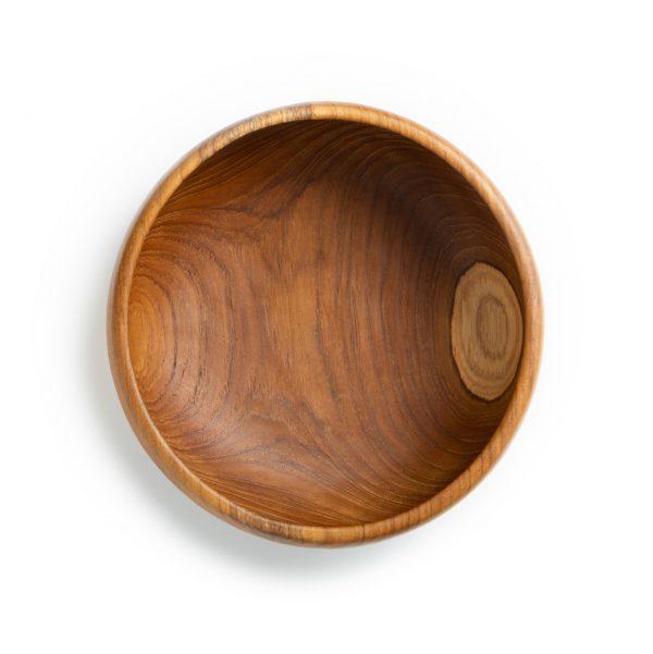 přírodní miska z teakového dřeva na salát velká pohled shora