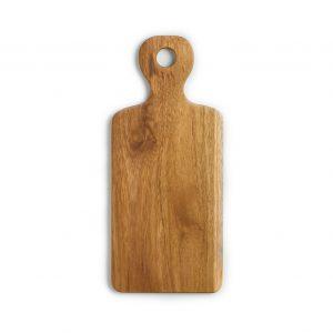 přírodní prkénko z teakového dřeva s rukojetí