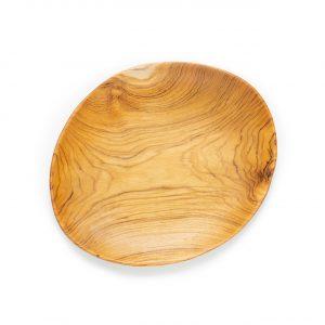 přírodní oválný talíř z teakového dřeva velký