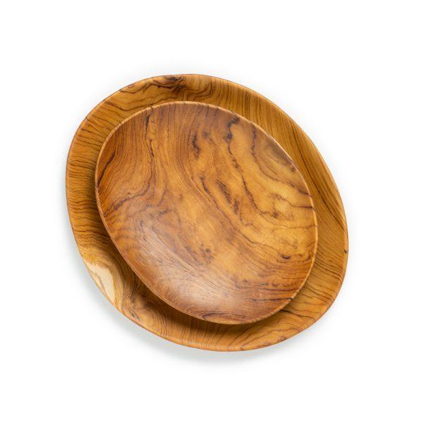přírodní oválné talíře z teakového dřeva malý a velký