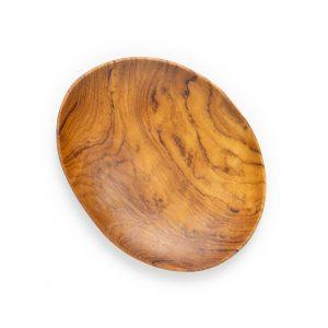 přírodní oválný talíř z teakového dřeva