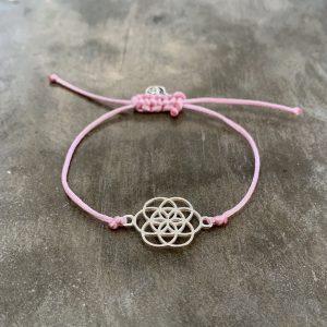 šňůrkový náramek Mandala a satén růžový