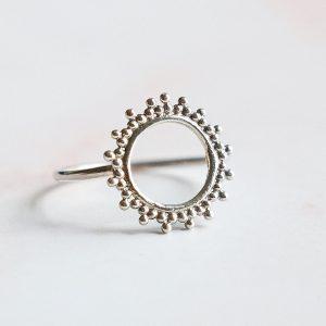 Stříbrný prsten Sun
