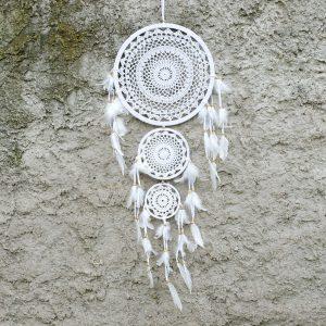 Lapač snů bílý tři kruhy 105cm