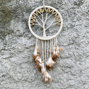 ručně vyrobený lapač snů se stromem života bílé korálky 80cm
