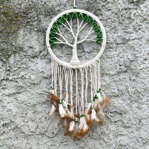ručně vyrobený lapač snů se stromem života zelené korálky 70 cm
