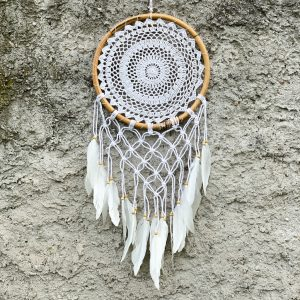 Lapač snů bílý s macramé v bambusovém kruhu 70cm