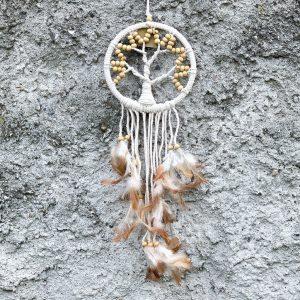 Lapač snů se stromem života bílé korálky 50cm