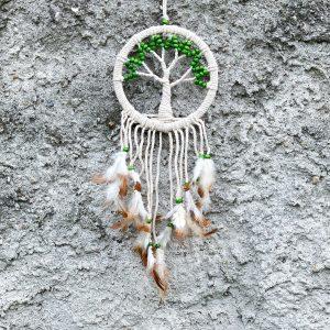 Lapač snů se stromem života zelené korálky 50cm