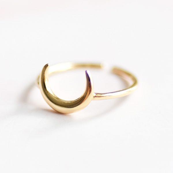 Prsten Half Moon pozlacený žlutým zlatem