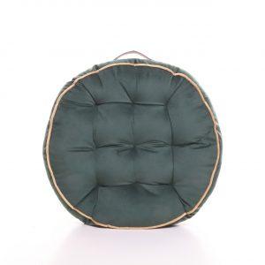 Meditační polštář tmavě zelený kulatý