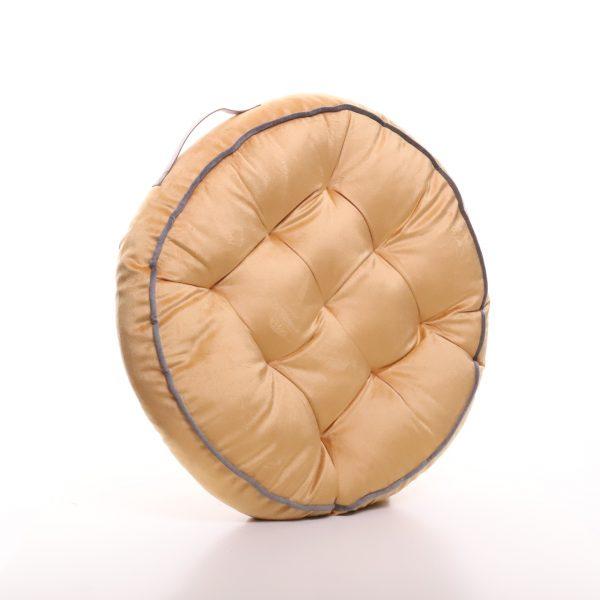 Meditační polštář hořčičný kulatý z jemného a hebkého materiálu