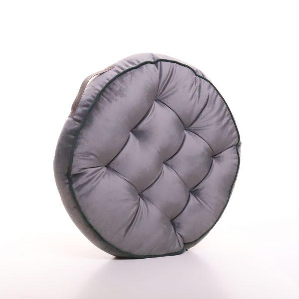 Meditační polštář šedý kulatý z jemného a hebkého materiálu