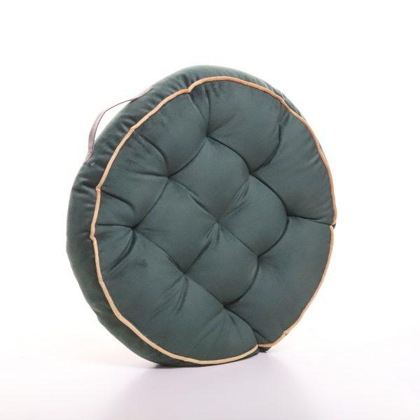 Meditační polštář tmavě zelený kulatý z jemného a hebkého materiálu