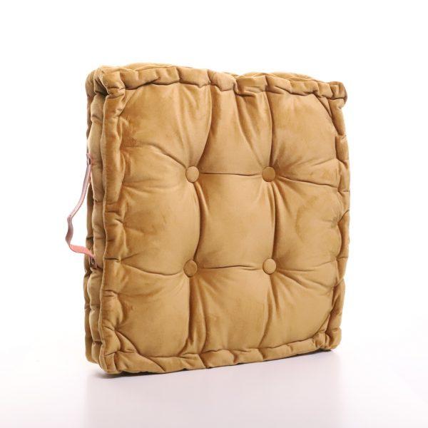 Meditační polštář hořčičný hranatý z jemného a hebkého materiálu