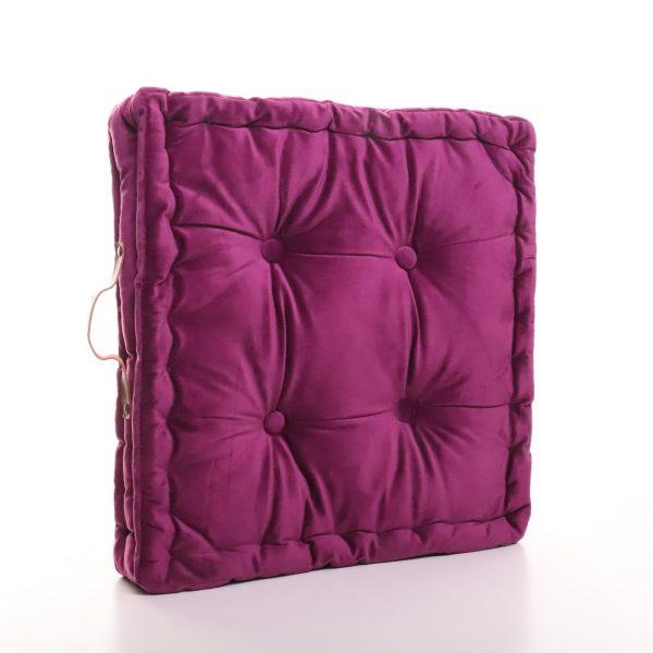 Meditační polštář lila hranatý z jemného a hebkého materiálu