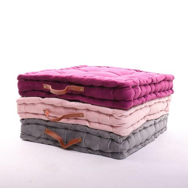 meditační polštáře hranaté lila, světle růžový a šedý