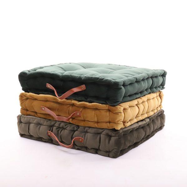 meditační polštáře hranaté tmavě zelený, hořčičný a olivový