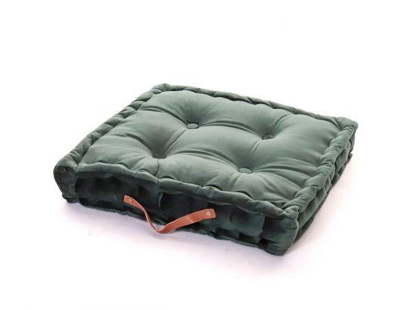 Polštář pro meditaci tmavě zelený hranatý s designovým úchytem