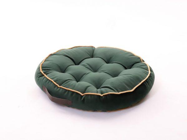 Polštář pro meditaci tmavě zelený kulatý s designovým úchytem