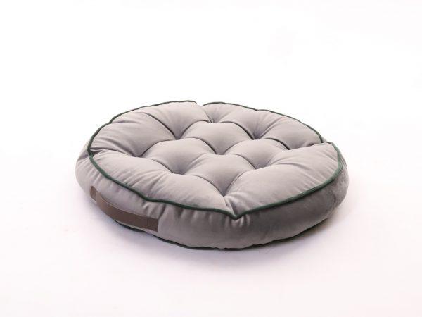 Polštář pro meditaci šedý kulatý s designovým úchytem