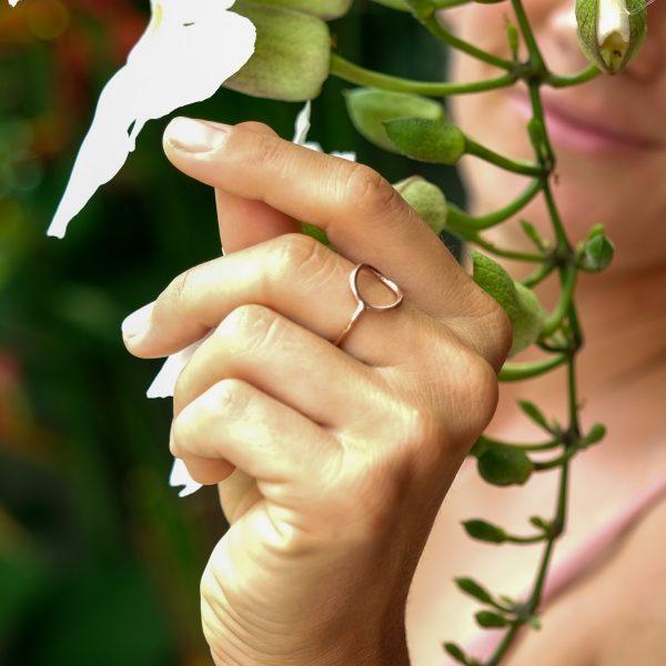 Pozlacený prsten Moon Pink - limitovaná kolekce stříbrných šperků z Bali