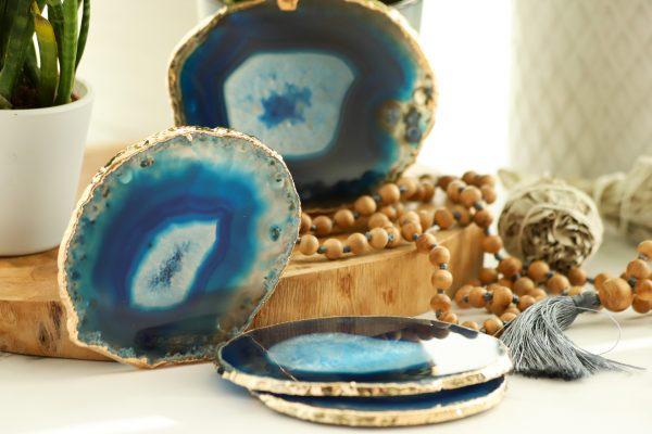 Podtácek Achát modrý nejen pro milovníky přírodních materiálů