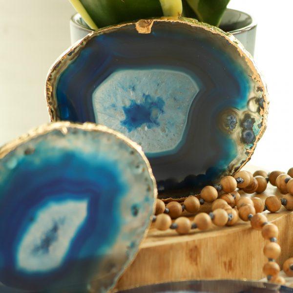 Podložka z kamene achát v modré barvě