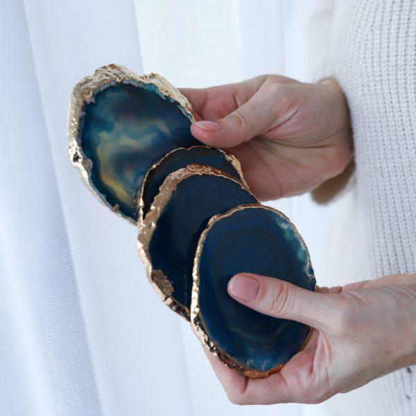 stylový podtácek z minerálního kamene Achátu tyrkysového