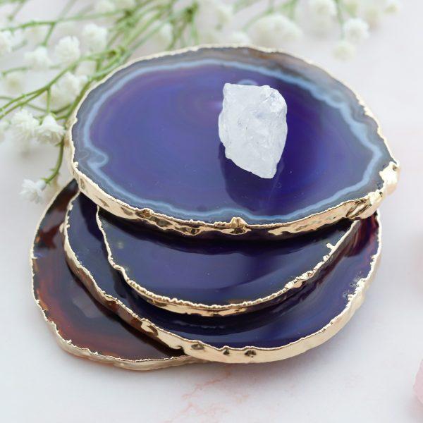 Originální podtácek z přírodního achátu fialového