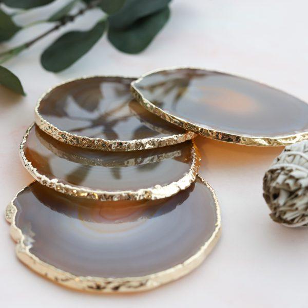 Podtácek gold Achát béžový jako podložka pod svíčku nebo na odkládání šperků a drobností
