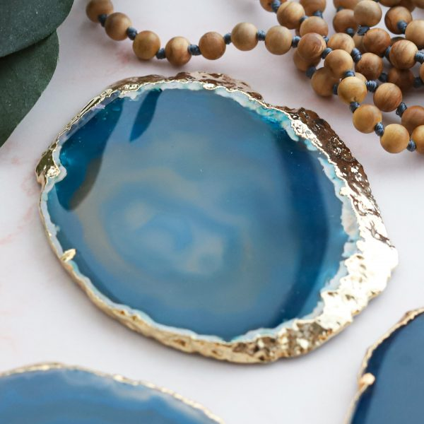 Podtácek gold Achát tyrkysový jako podložka pod svíčku nebo na odkládání šperků a drobností