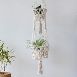 ručně drhaný macramé květináč dvojitý Beads ve smetanové barvě