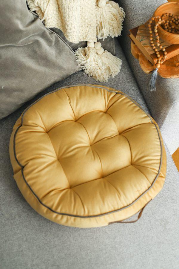 Meditační polštář hořčičný kulatý je ideálním doplňkem do boho interiéru