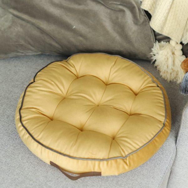 Hořčičný kulatý polštář na meditaci, na sezení nebo na cesty